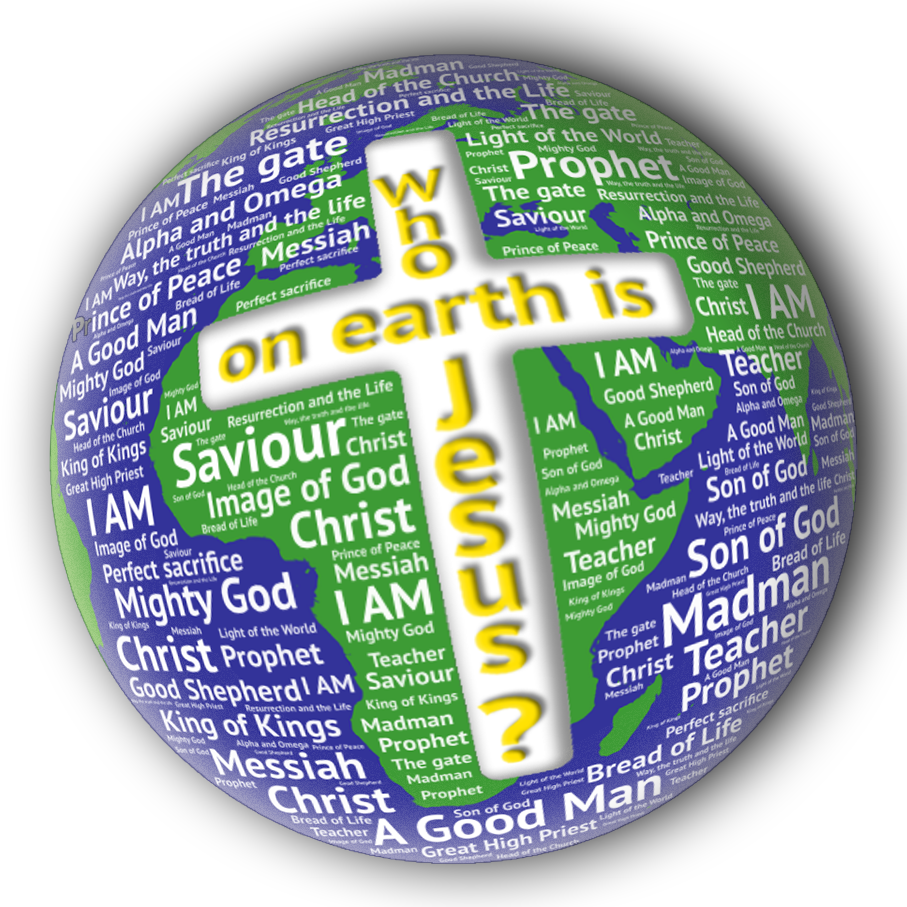 Word cloud globe with centre cross holding the title, Who on Earth is Jesus