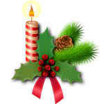Festive candle and holly image