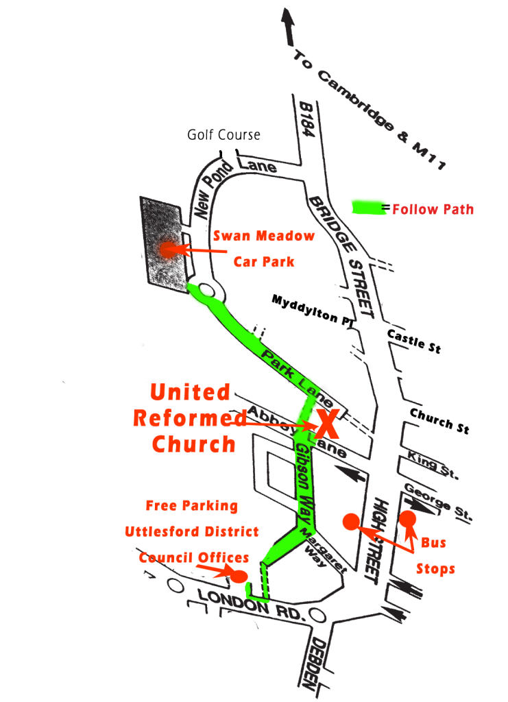 How to get to the United Reformed Church from parking in Saffron Walden - map